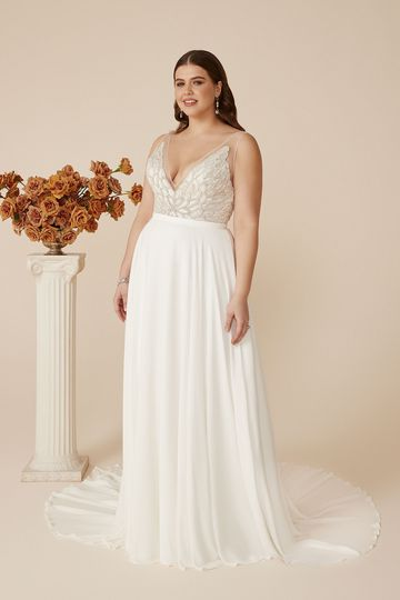 Justin Alexander Style 88074PS V-Neck Plus Size A-Line Gown with Beaded Bodice
