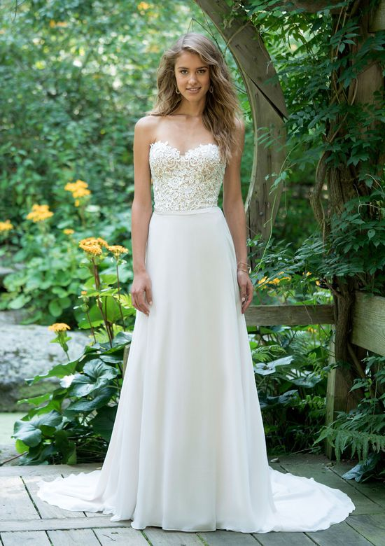 Lillian West Style 66019 Strapless Lace Bodice A-Line with Chiffon Skirt
