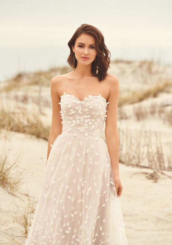 Lillian West Style 66117 Sweetheart A-Line Gown with Flower Petals