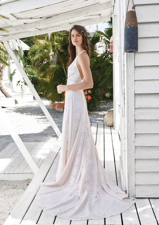 Lillian West Style 66046 V-neck Halter Gown with Rose Patterned Lace
