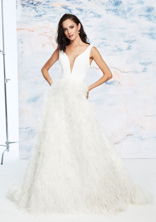 Justin Alexander Signature Style 99058 Ostrich Feather Skirt Ball Gown with V-Neckline