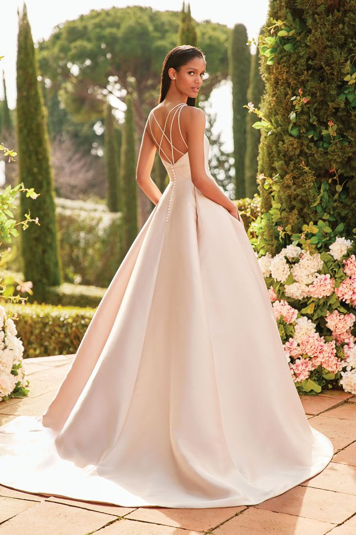 Sincerity Bridal Style 44186 Mikado Ball Gown with Beaded Plunging Neckline