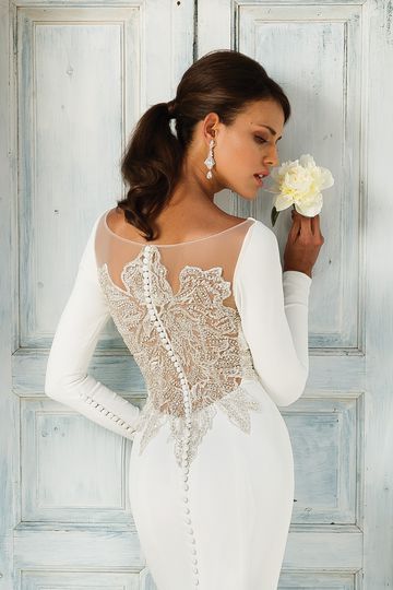 Justin Alexander Style 8936 Crepe Long Sleeve Wedding Dress with Beaded Illusion Back