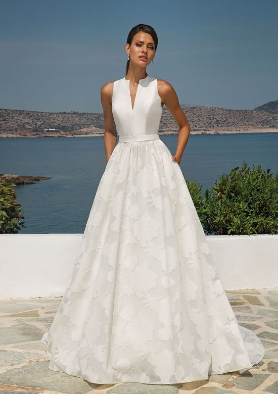 Justin Alexander Style 8924 Organza Jacquard Ball Gown with Sleeveless Mikado Notch Collar