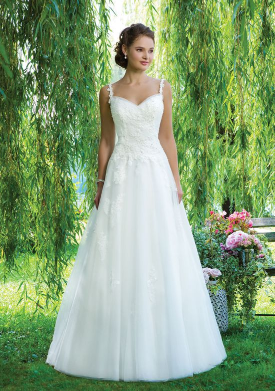 Sweetheart Gowns Style 6090 Beaded Alencon lace and tulle A-line emphasized with a sweetheart neckline.