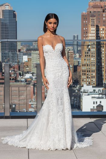 Justin Alexander Signature Style 99032 Allover Beaded Lace Gown with Scalloped Hem Lace