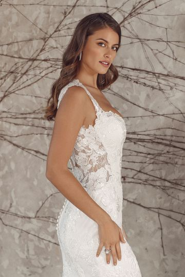 Justin Alexander Style 88159 Alana Lace Fit and Flare with Queen Anne Neckline and Illusion Sides