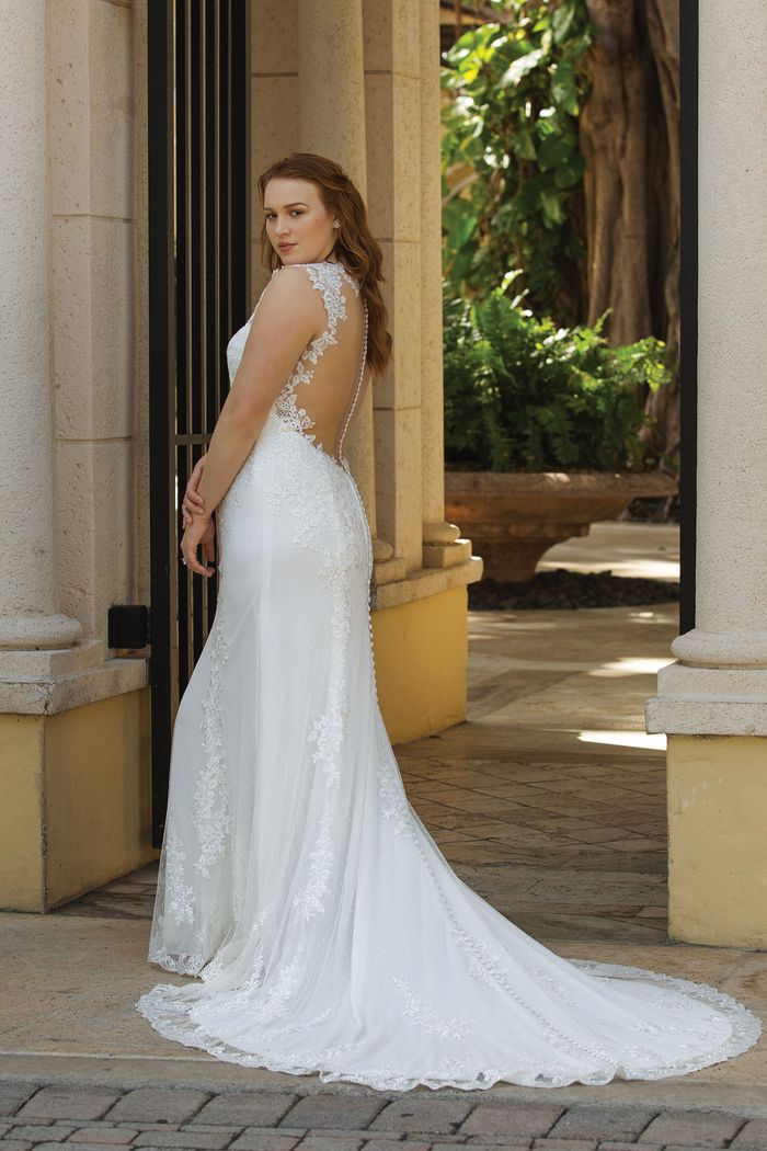 Sincerity Bridal Style 3913 Plunging V-Neck Gown with Lace Applique Open Back