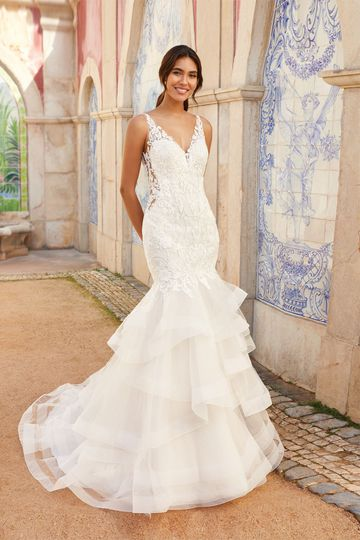 Sincerity Bridal Style 44253 Trumpet Gown with Ruffle Skirt and Open Back
