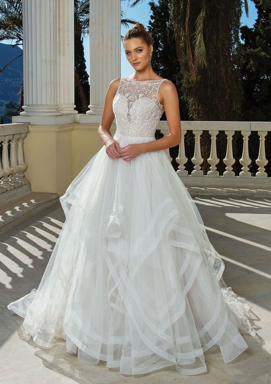 Justin Alexander Style 88125 Ruffle Skirt Ball Gown with Beaded Bodice