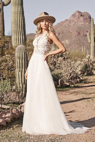 Lillian West Style 66159 Jewel Neckline A-Line Gown with Cotton Lace and English Net Skirt