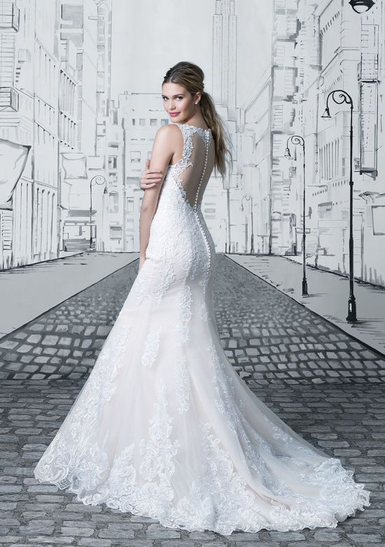 Justin Alexander Style 8909 Lace Fit and Flare Gown with Detachable Monarch Train