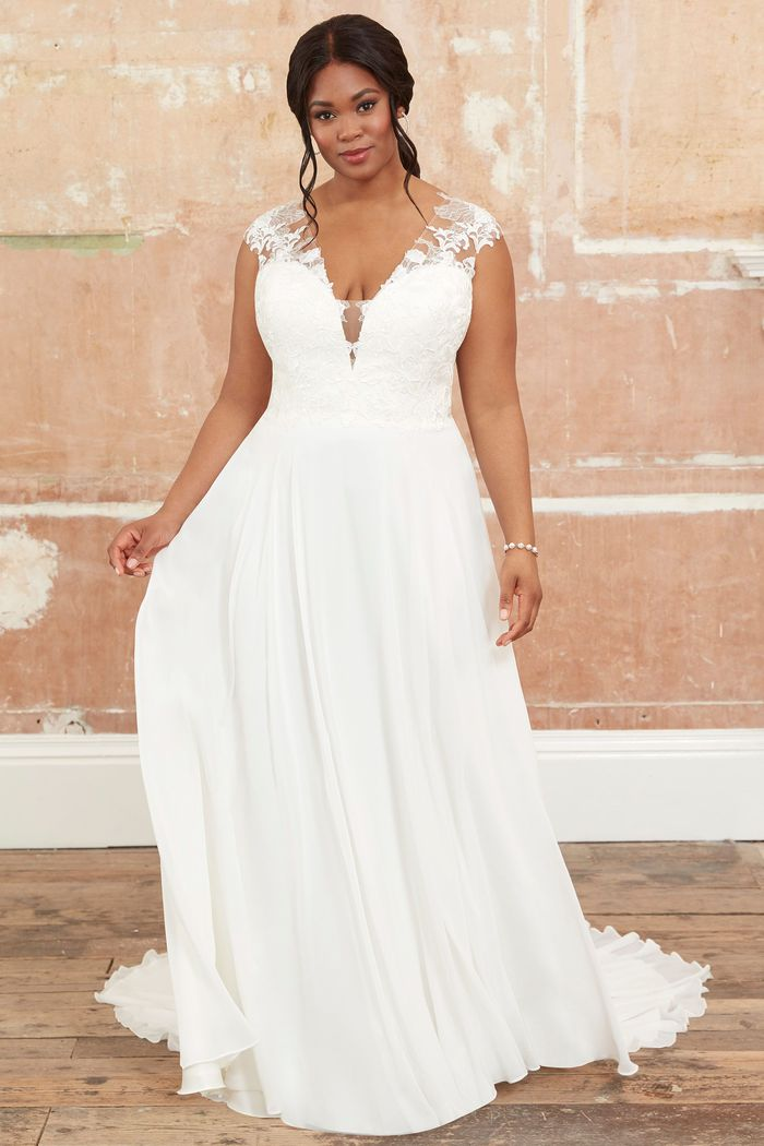 Adore by Justin Alexander Style11123PS Plus Size A-Line Gown with Chiffon Skirt and Cap Sleeves