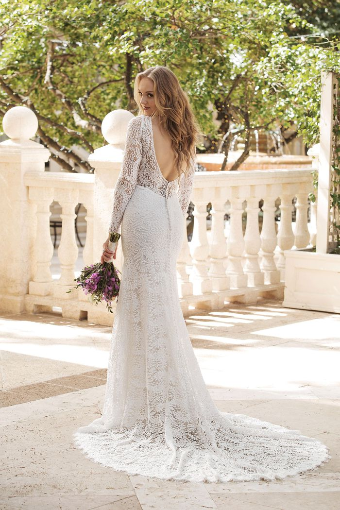 Sincerity Bridal Style 44078 V-Neck Allover Lace Long Sleeve Gown
