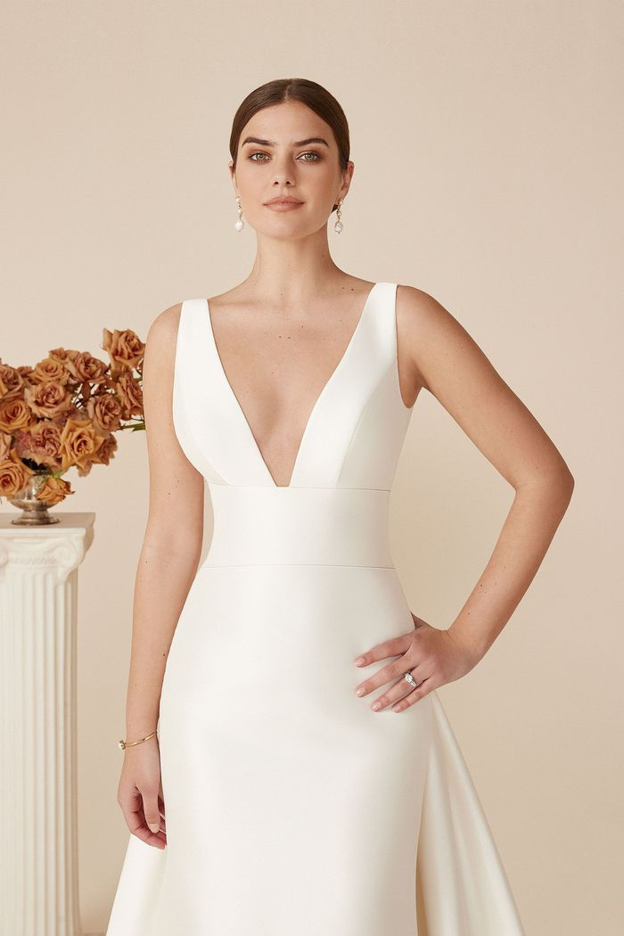 Justin Alexander Style 88071 Mikado Fit and Flare Dress with Detachable Train
