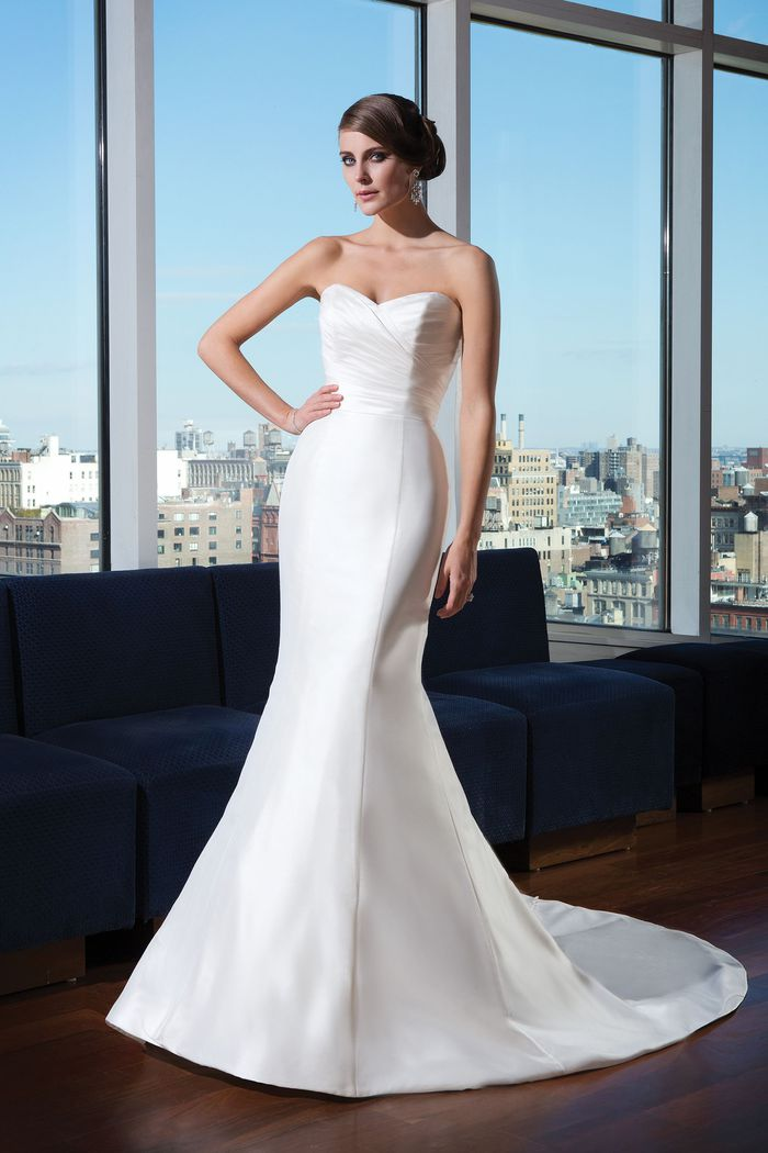 Justin Alexander Signature Style 9739 Silk dupion mermaid dress accented with a sweetheart neckline