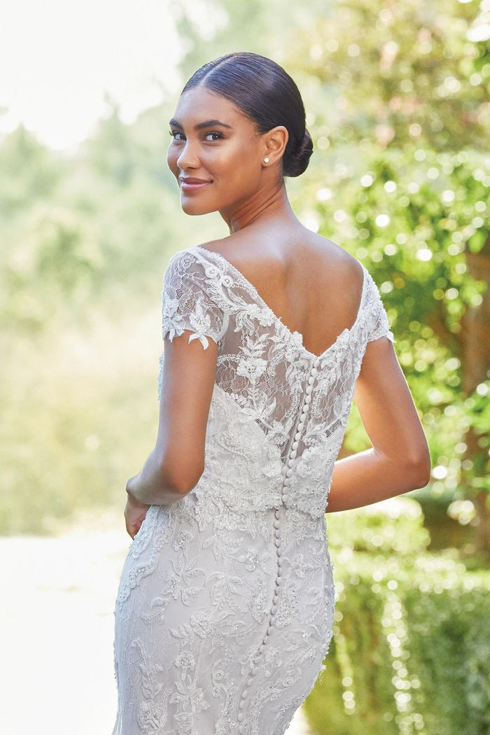 Sincerity Bridal Style 44212 Allover Lace Strapless Gown Paired With Short Sleeve Jacket