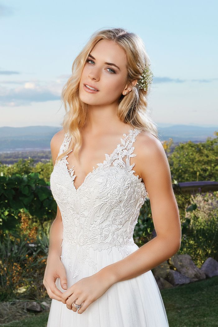 Lillian West Lace A-Line Gown With Tulle Skirt and Criss-Cross Back