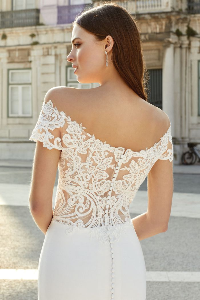 Adore by Justin Alexander Style 11155 Off the Shoulder Fit and Flare Gown with Illusion Lace Bodice