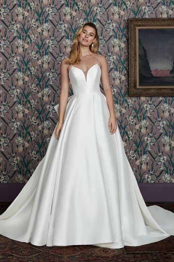 Justin Alexander Signature Style 99142 MADELEINE Spaghetti Strap Mikado Ball Gown with Dramatic Bow Detail