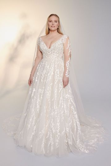 Justin Alexander Signature Style 99155PS Julie Plus Size Slim Ball Gown with Long Sleeves