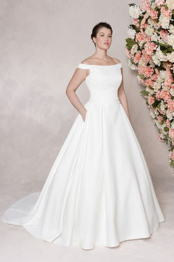Sincerity Bridal Style 44122 Portrait Off the Shoulder Neckline Clean Ball Gown