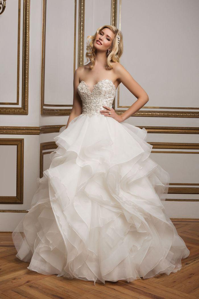 Justin Alexander Style 8845 Beaded Bodice and Organza Ruffle Skirt Wedding Dress