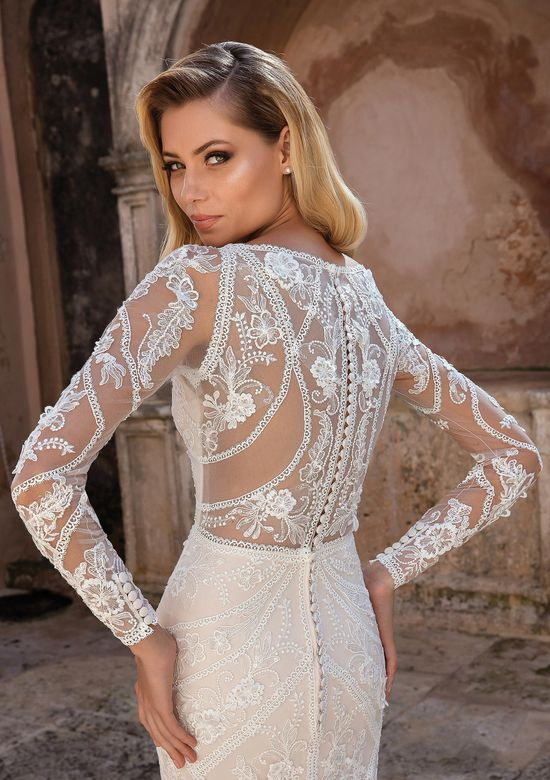 Justin Alexander Style 88063 Lace Trim Long Sleeve Dress