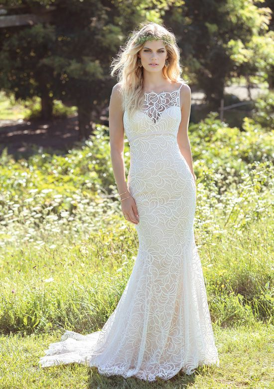 Lillian West Allover Lace Fit and Flare with Spaghetti Straps and Illusion Back