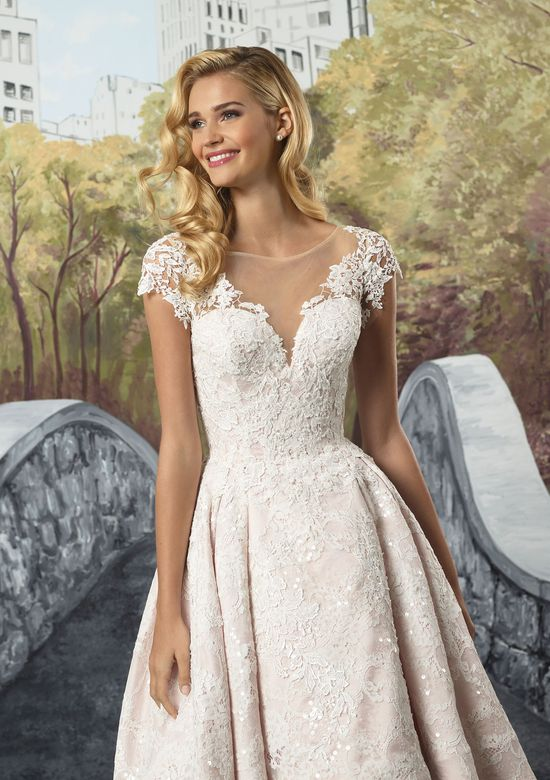 Justin Alexander Style 8910 Beaded Venice Lace High-Low Tea Length Gown