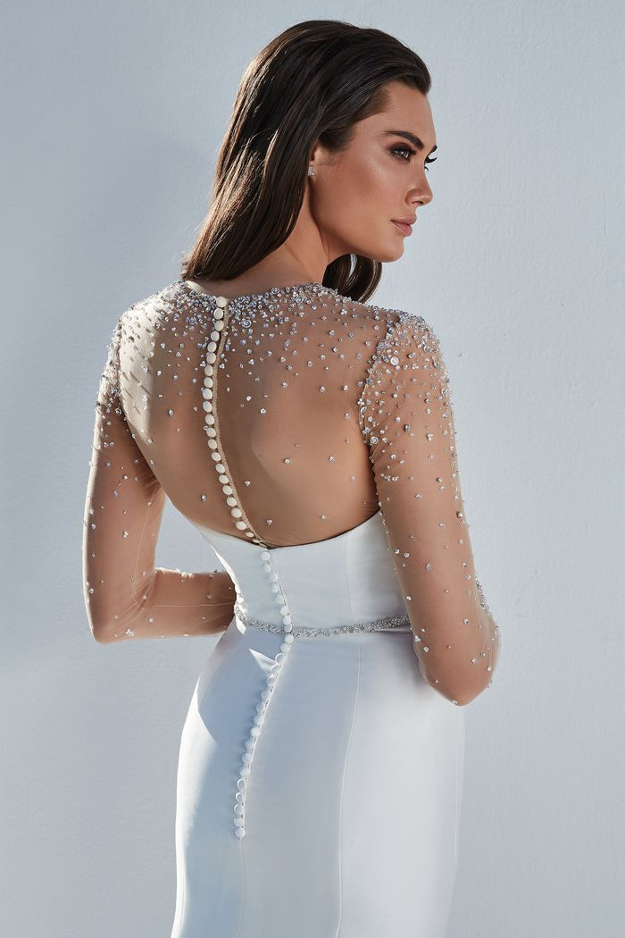 Justin Alexander Style 88171B Blaire Belt Slim Beaded Belt with Crystals