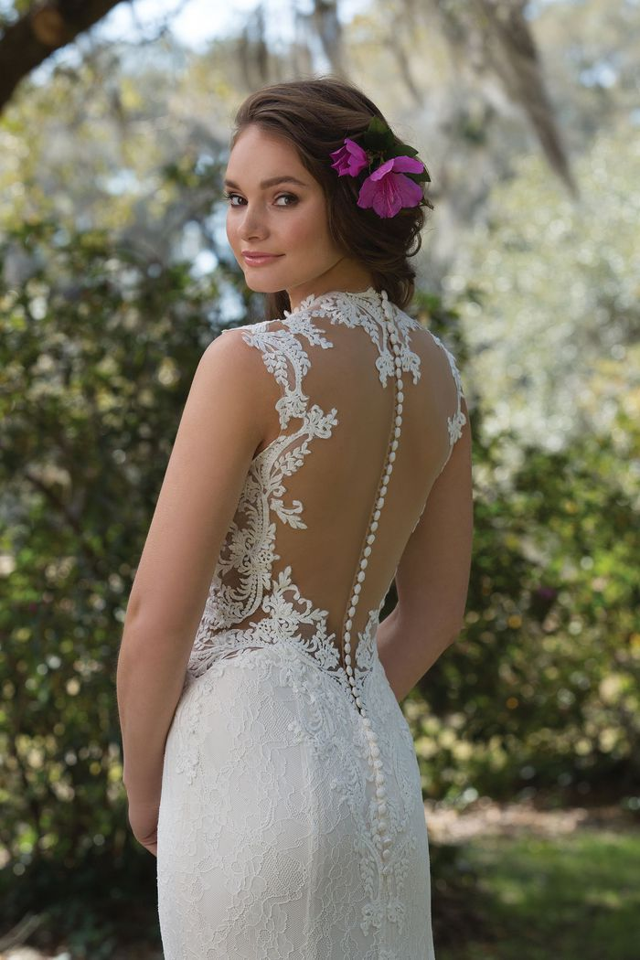Sweetheart Gowns Style 6168 Lace Gown with Cutout Waist and Queen Anne Neckline