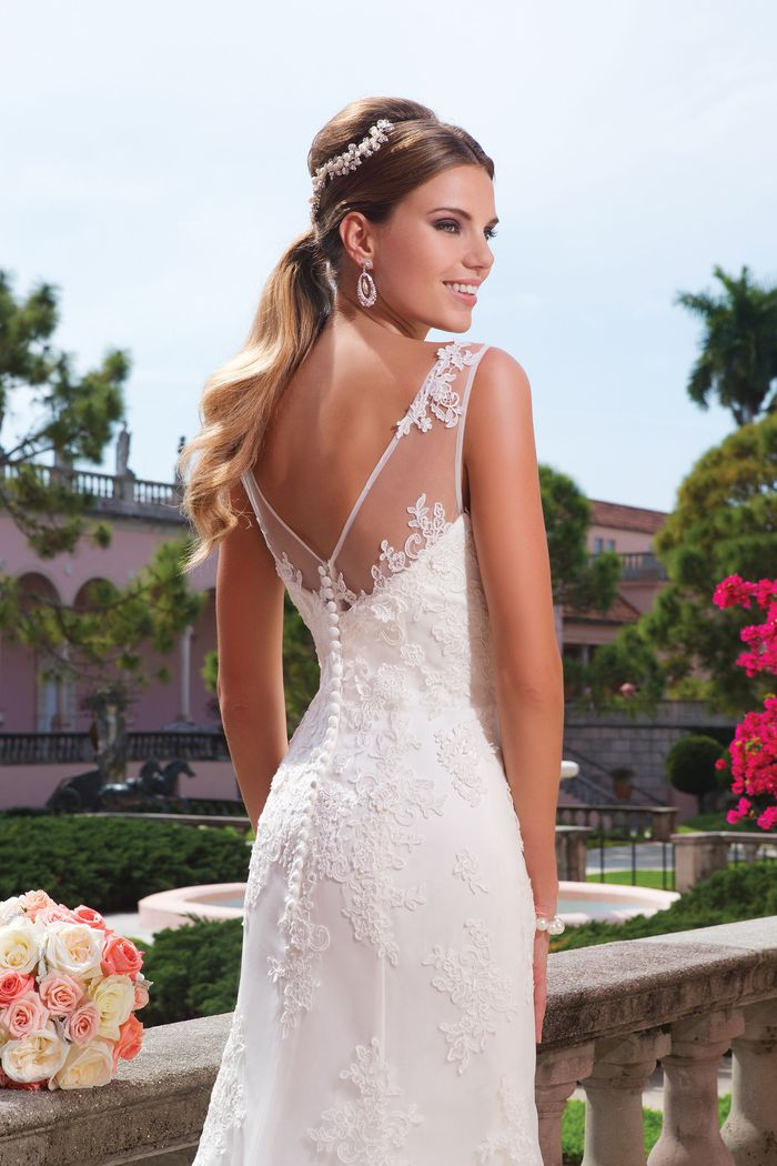 Sweetheart Gowns Lace Fit and Flare Gown with Lace Hem