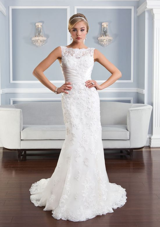 Lillian West Style 6332 Beaded Lace Backless Gown with Pleated Satin Waist