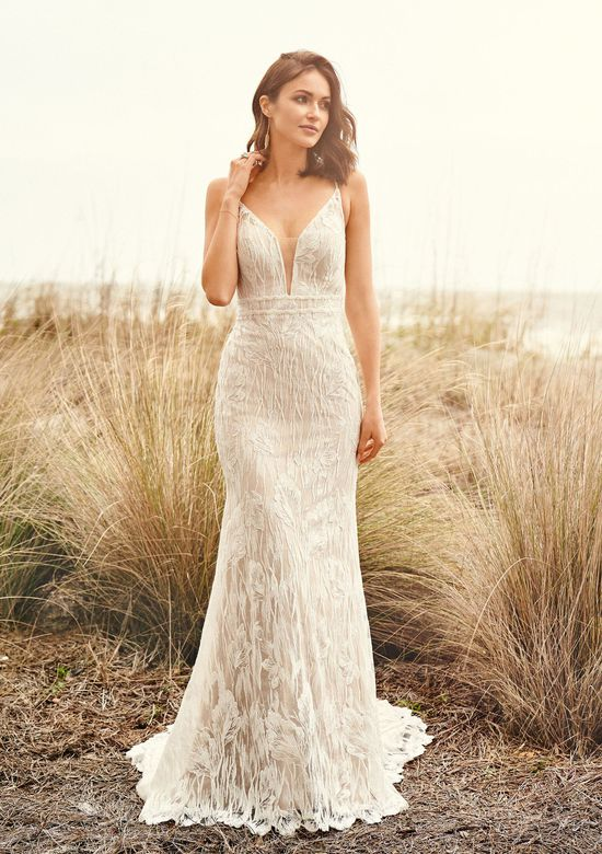 Lillian West Style 66103 Deep V-Neck Lace Fit and Flare Gown