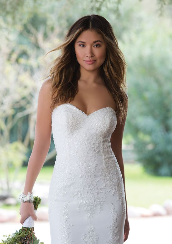 Sweetheart Gowns Style 1129 Sweetheart Gown with Cascading Beaded Embroidered Lace