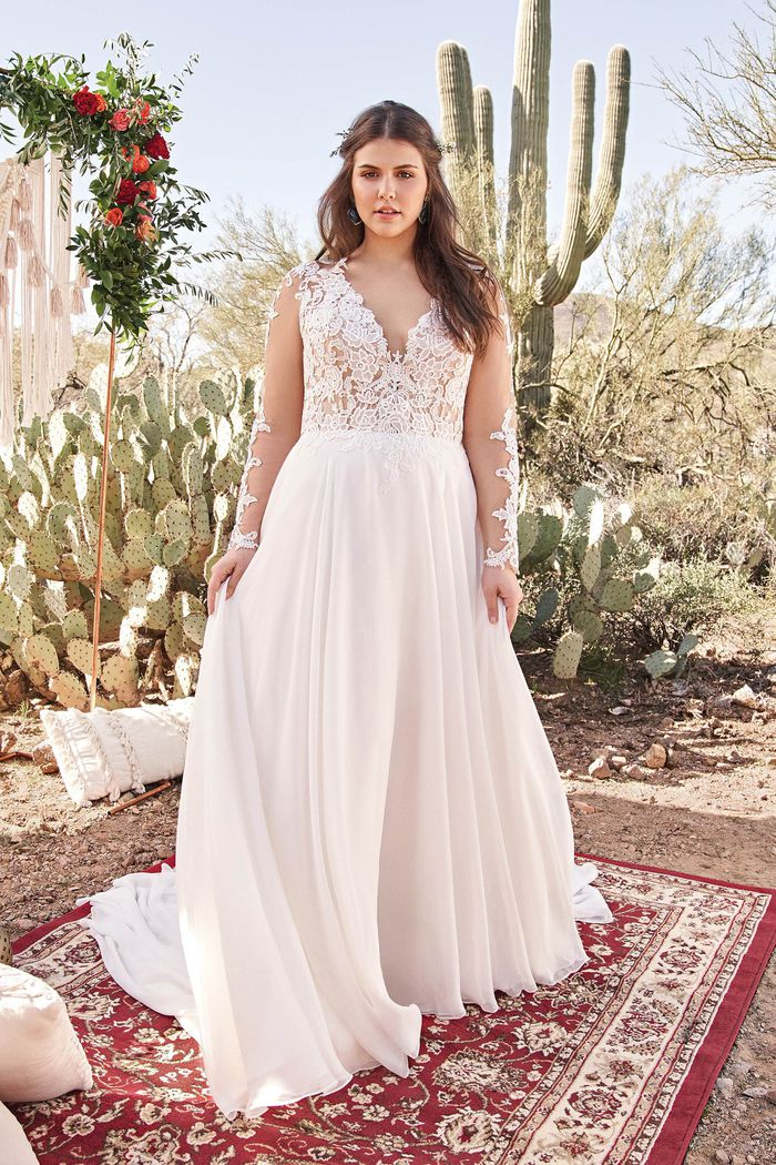 Lillian West Style 6422PS Chiffon A-Line Plus Size Gown with Lace Bodice and Sleeves