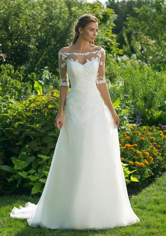 Sweetheart Gowns Style 11011 Asymmetrical Gown with Lace Trimming at Neck