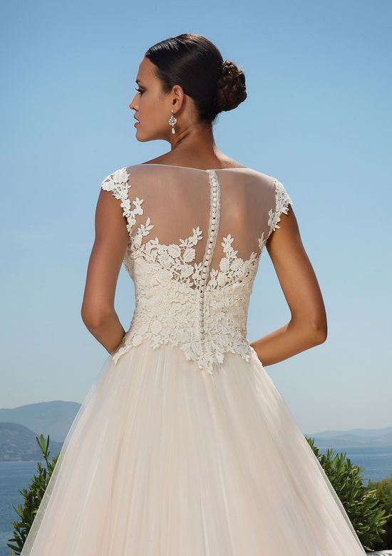 Justin Alexander Style 8852 Lace Sabrina Neckline and Tulle Skirt Bridal Gown