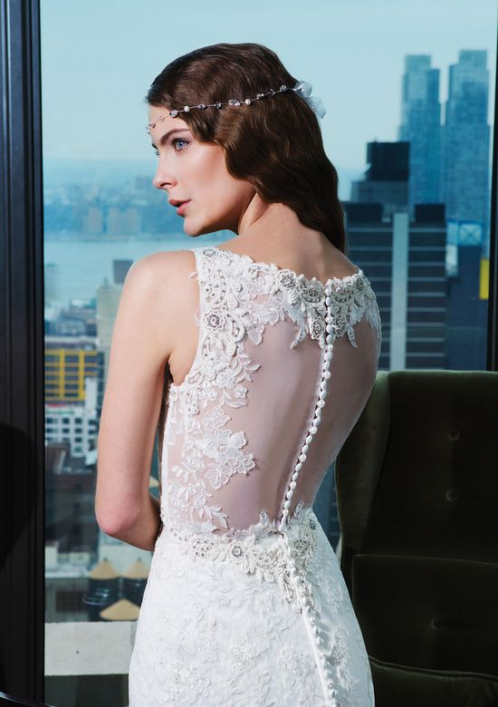 Justin Alexander Signature Style 9762 Embroidered lace; floral art deco fit and flare dress accented by a tank neckline