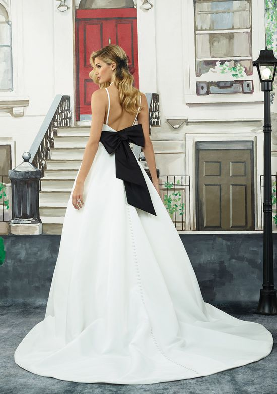 Justin Alexander Style 8946 Mikado A-Line Gown with Black Satin Belt and Pockets