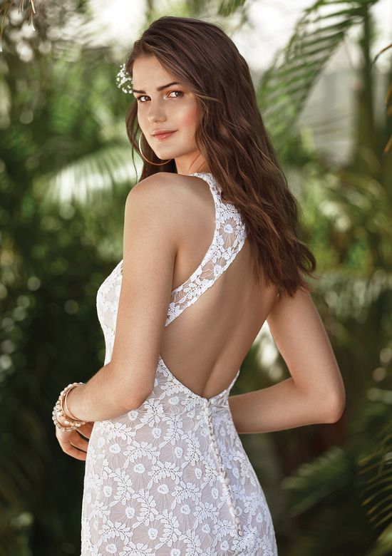 Lillian West Style 66054 Fit and Flare with Unique Lace and Keyhole Back