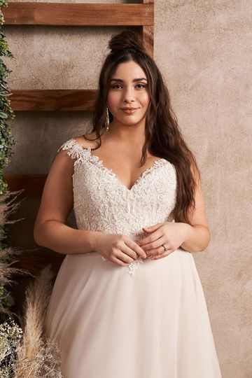 Lillian West Style 66133PS Off the Shoulder Plus Size English Net A-Line Dress