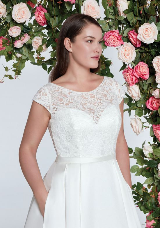 Sweetheart Gowns Style 11065 Embroidered Lace Neckline Dress with Box Pleats
