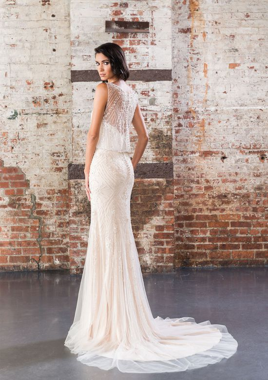 Justin Alexander Signature Style 9854 1920s-Inspired Beaded Straight Gown with Illusion Back