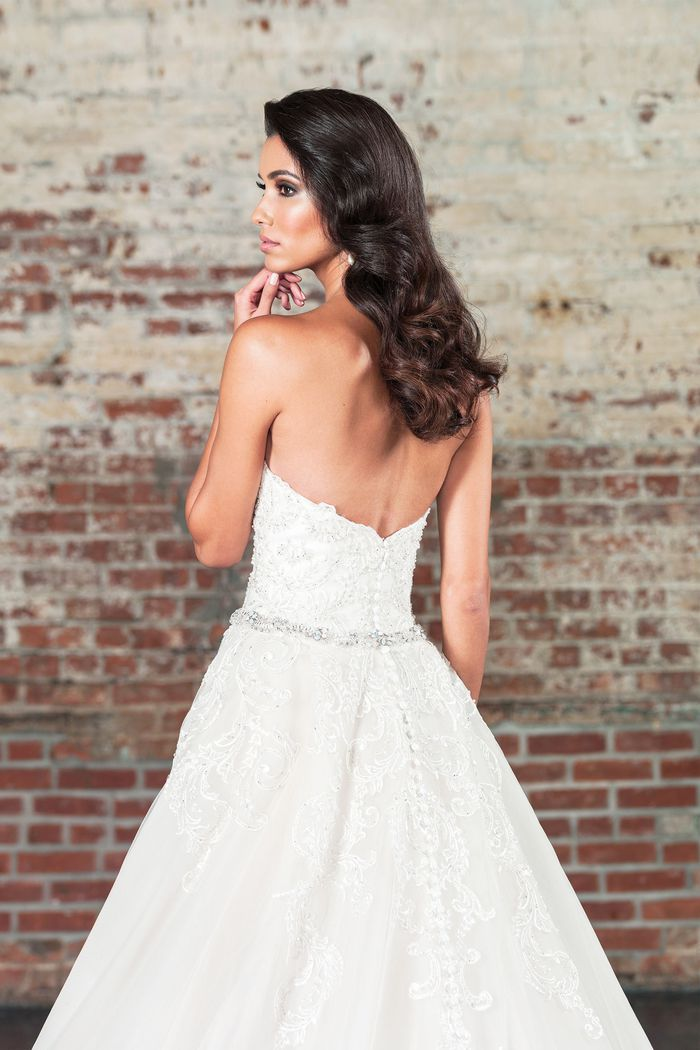Justin Alexander Signature Style 9862 Straight Gown with Beaded Lace Appliques and Dramatic Detachable Train