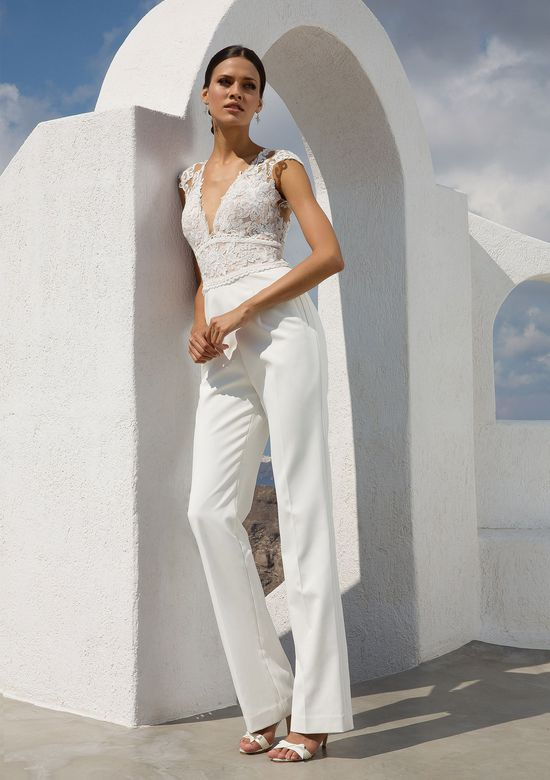 Justin Alexander Style 88000 Crepe Jumpsuit with Illusion V-Neck Lace Bodice