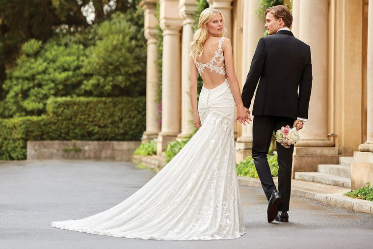 Sincerity style 44062 Slim Allover Lace Gown with Keyhole Back Detail