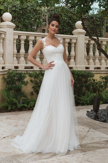 Sincerity style 44094 Queen Anne Lace Neckline Slim A-line Gown