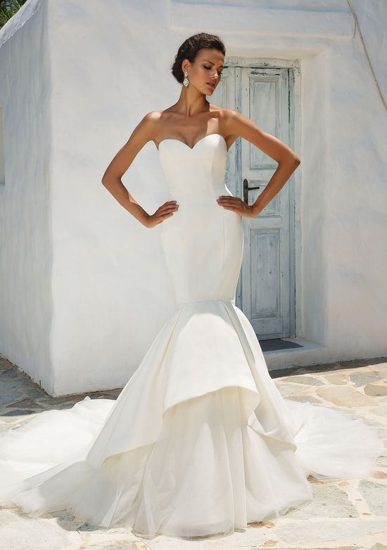 Justin Alexander Style 8933 Satin Mermaid Wedding Dress Accented with Apron Tulle and Organza Skirt
